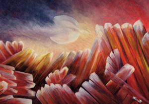 RUBIS SUR MANIX Huile sur toile 35 x 25 cm. Chaud